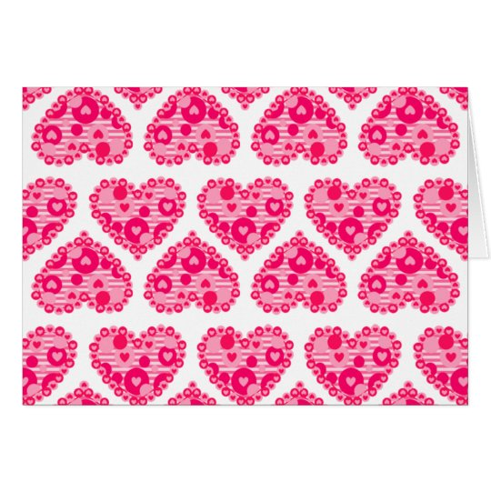 Valentine Stripe Dot Hearts Card