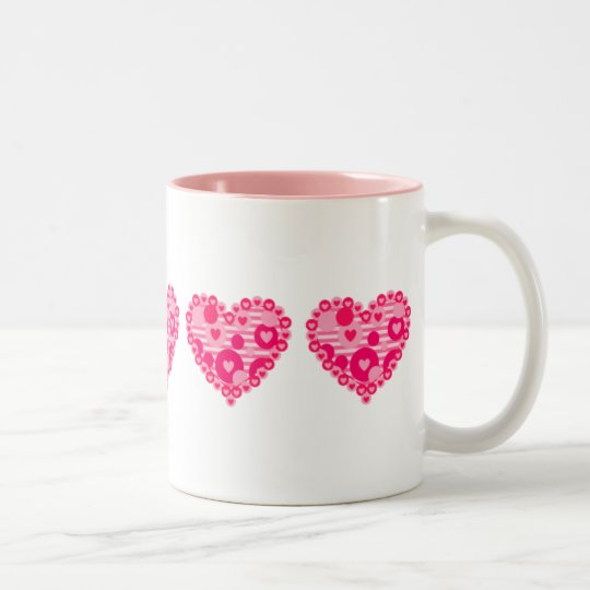 Valentine Stripe Dot Hearts Two-Tone Coffee Mug