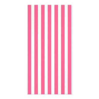 Valentine Stripes in Midi Pink and White Photo Card