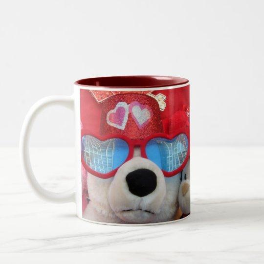 Valentine Stuffed Animals Heart Glasses Mug