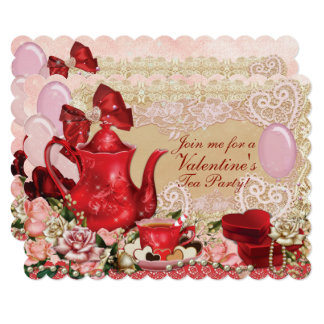 Valentine Sweetheart Tea Party Card