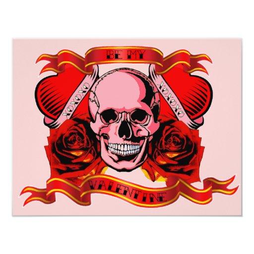 Valentine Tattoo Skull Hearts 4.25x5.5 Paper Invitation Card