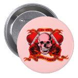 Valentine Tattoo Skull Hearts Button