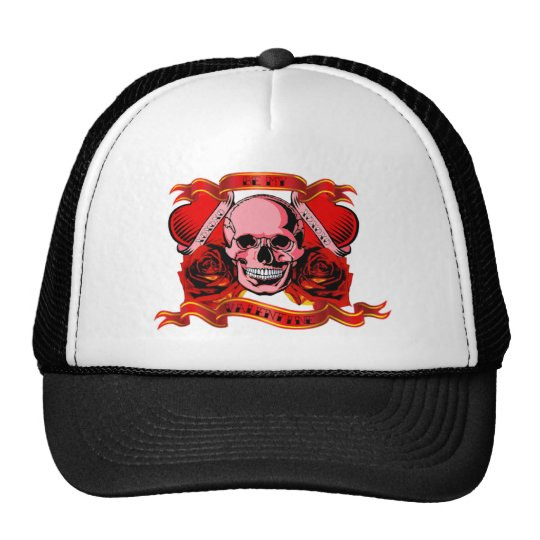 Valentine Tattoo Skull Hearts Trucker Hat