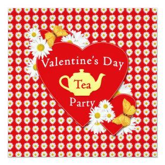 """Valentine Tea Party Daisies Invitation 5.25"""" Square Invitation Card"""