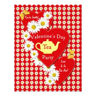 Valentine Tea Party Daisies Small Invitation