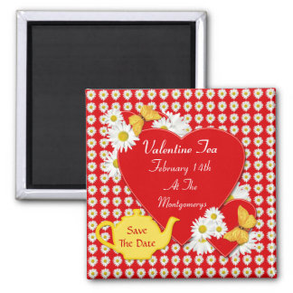 Valentine Tea Party Save the Date Magnets