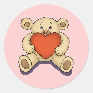 valentine teddy bear classic round sticker