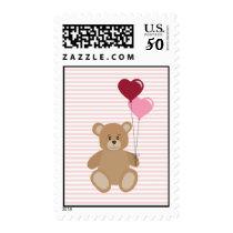 Valentine teddy bear holding balloons postage