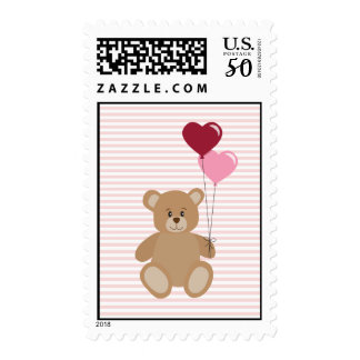 Valentine teddy bear holding balloons postage