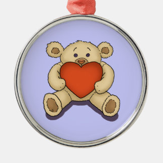 valentine teddy bear metal ornament