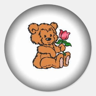 Valentine Teddy Bear Round Stickers