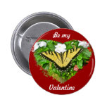 Valentine Tiger Swallowtail Butterfly Items Pinback Buttons