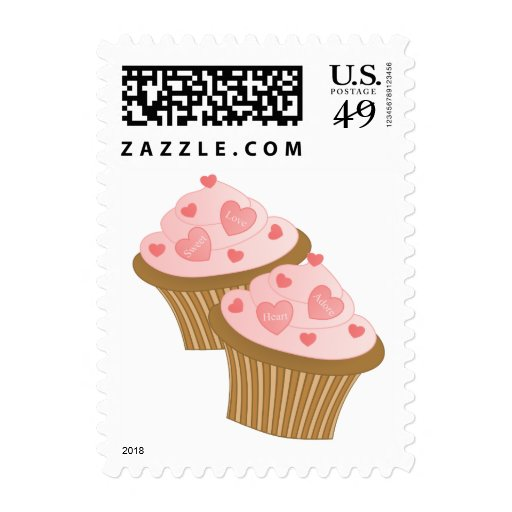 Valentine Two Cakes Postage Stamps