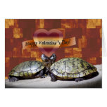 Valentine, Two Turtles, Heart Shape Greeting Card