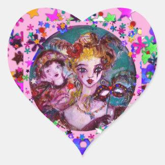 VALENTINE VENETIAN MASQUERADE CONFETTI HEART STICKER