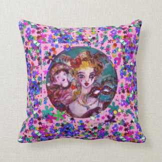 VALENTINE VENETIAN MASQUERADE MASKS AND  CONFETTI THROW PILLOW
