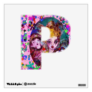 VALENTINE VENETIAN MASQUERADE MONOGRAM P LETTER WALL DECAL
