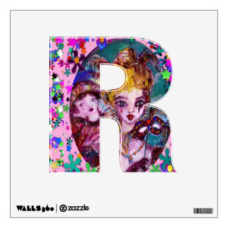 VALENTINE VENETIAN MASQUERADE MONOGRAM R LETTER WALL DECAL