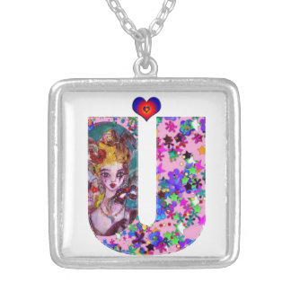 VALENTINE VENETIAN MASQUERADE MONOGRAM U LETTER SILVER PLATED NECKLACE