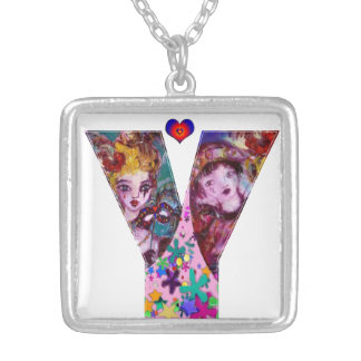 VALENTINE VENETIAN MASQUERADE MONOGRAM Y LETTER SILVER PLATED NECKLACE