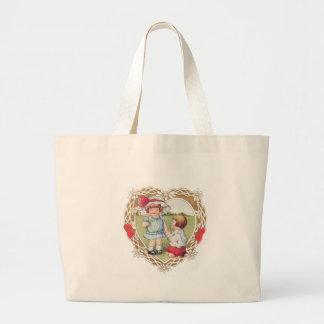 Valentine Vintage Children Large Tote Bag