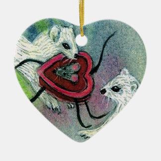 Valentine Weasel Ornament