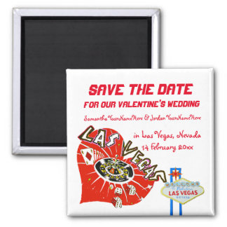 Valentine Wedding Save the Date Las Vegas Magnet