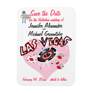 Valentine Wedding Save the Date Vegas Pink Magnet