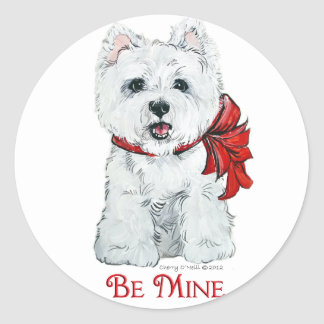 Valentine Westie - Be MIne Classic Round Sticker