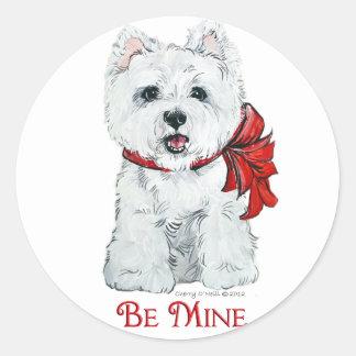 Valentine Westie - Be MIne Classic Round Sticker