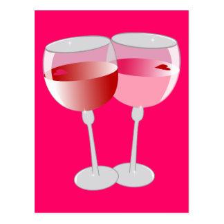 valentine wine postcard