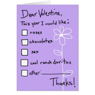 Valentine Wish List Card