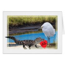 Valentine with Alligator and Egret Card