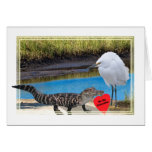 Valentine with Alligator and Egret Greeting Card