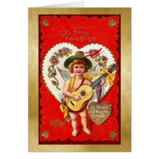 Valentine with Child & Guitar - Vintage Victorian Card