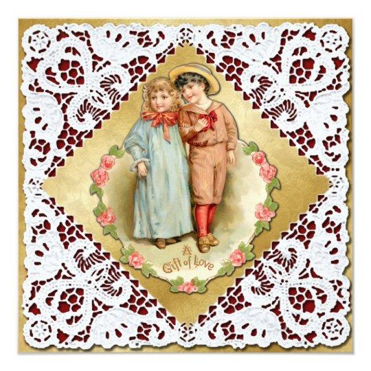 Valentine with Lace & Children - Vintage Victorian Card