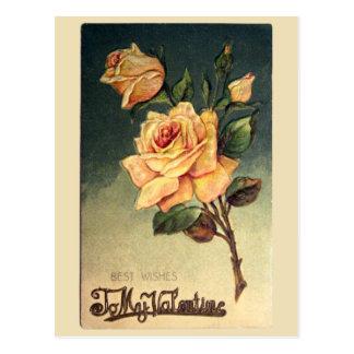 Valentine Yellow Roses Vintage Postcard
