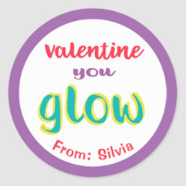 Valentine You Glow Glow Stick Funny Kids Custom Classic Round Sticker