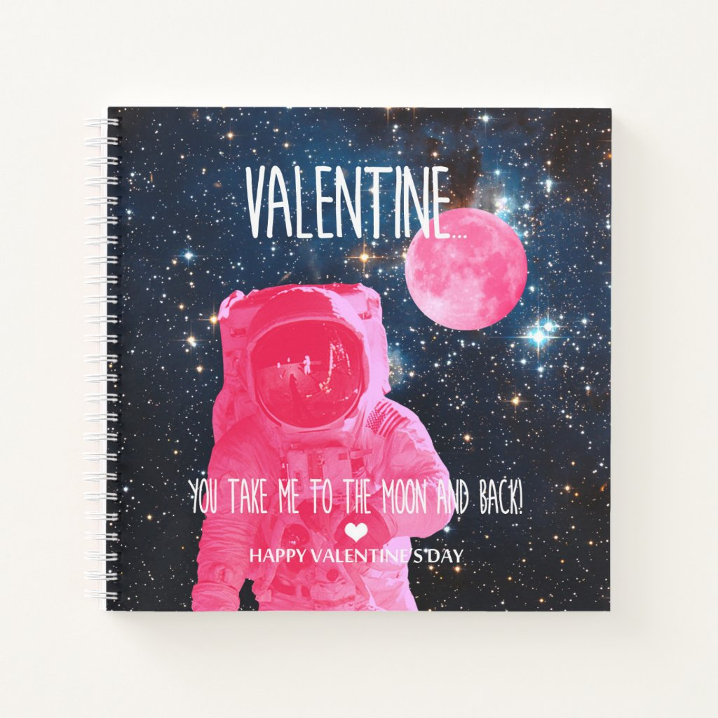 Valentine, you take me to the moon and back! notebook