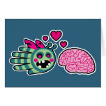 Hand shaped Valentine Zombie Bee Loves Your Brain! Greeting Cards