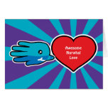 Hand shaped Valentine's Awesome Narwhal Love card