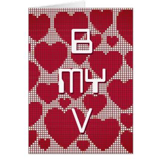 Valentines B MY V Pixel Hearts Card
