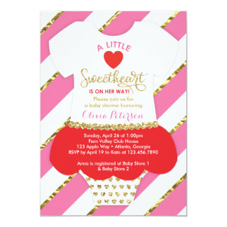 Valentines Baby Shower Invitation, Faux Glitter Card