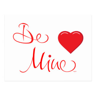 Valentines-Be-Mine-with Red Heart Postcard