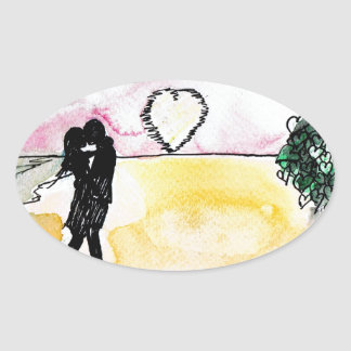valentines beach oval sticker