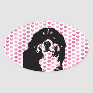 Valentines - Bernese Mountain Dog Silhouette Oval Sticker