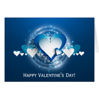 Valentine's Blues White Hearts - Customize Card