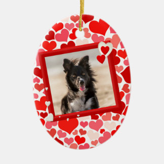 Valentines Border Collie Dog Hearts Ceramic Ornament