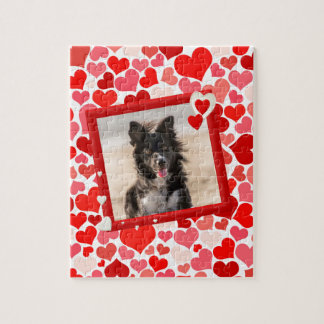 Valentines Border Collie Dog Hearts Jigsaw Puzzle
